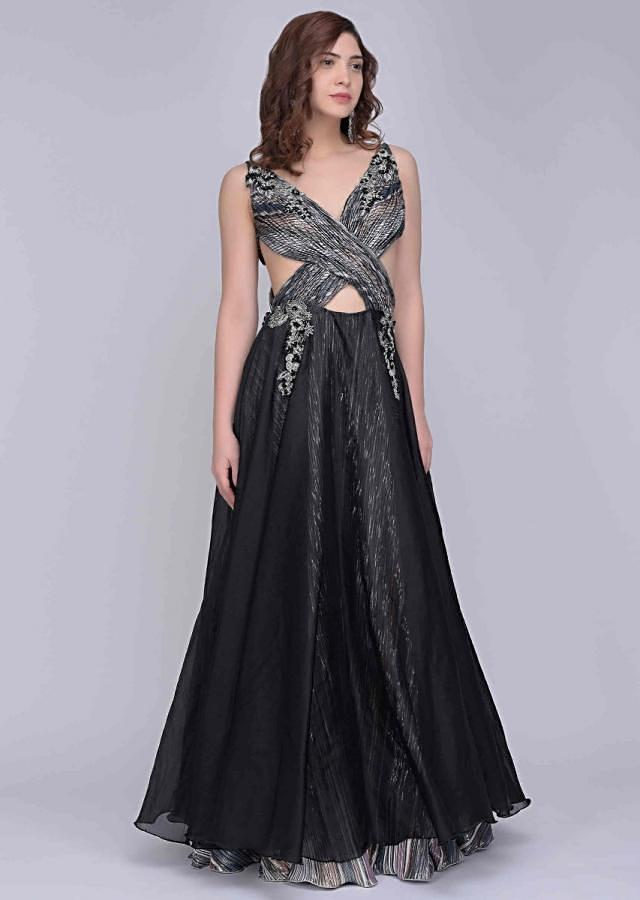 Black Gown In Organza With Cut Out Ruched Bodice Online - Kalki Fashion