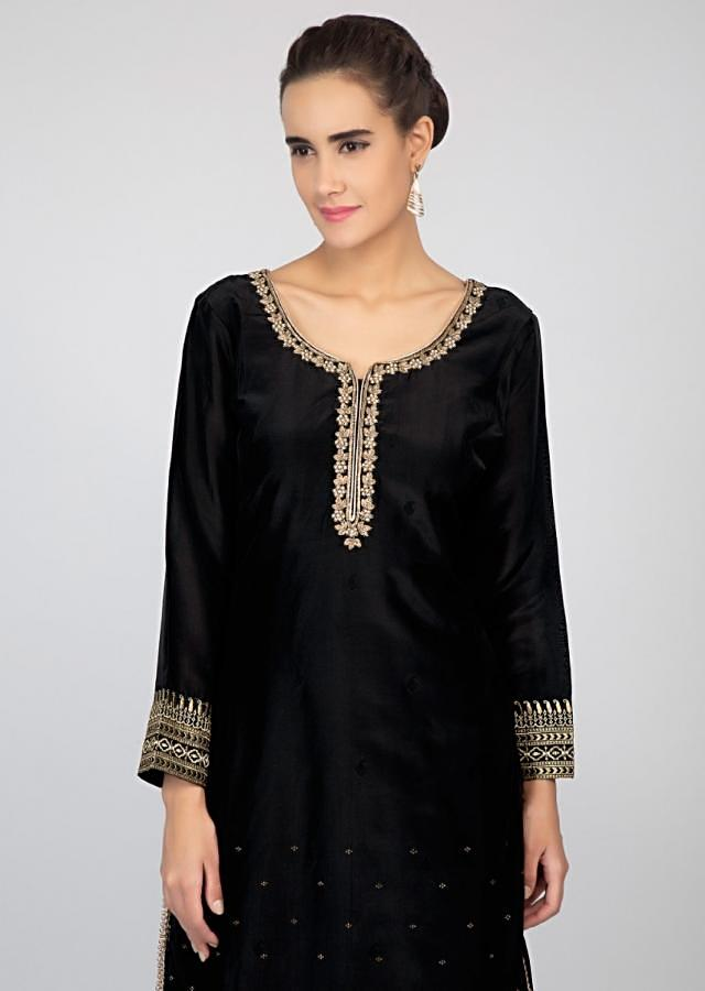 Black palazzo suit set with golden weaved and zari embroidery only on kalki