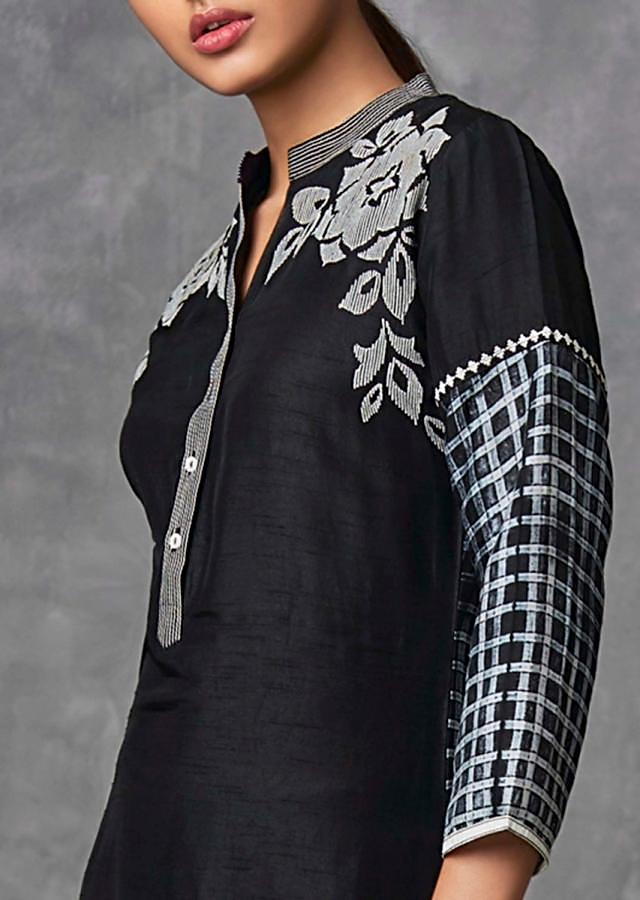 Black Suit Set In Raw Silk With Floral And Checks Print Online - Kalki Fashion