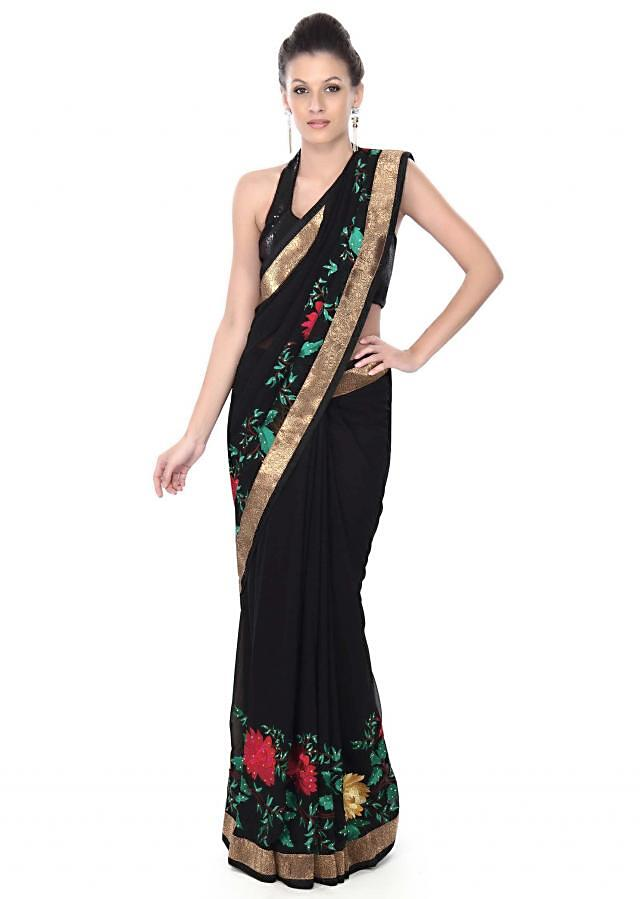Ebony black saree adorn in floral motif embroidery only on Kalki