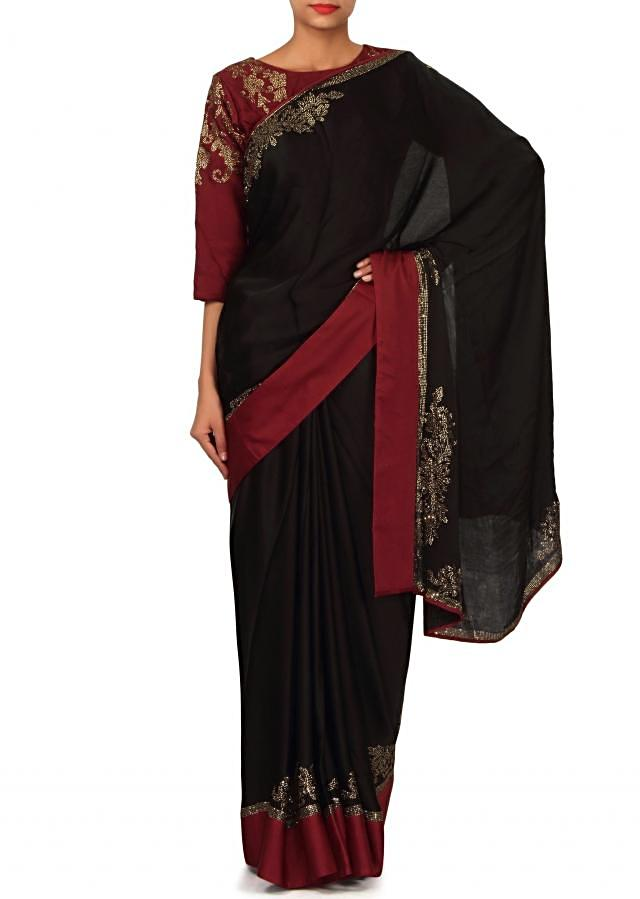 Jet black saree embellished in kundan with ready blouse only on Kalki