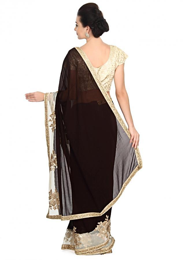 Black saree embellished in sequin embroidery only on Kalki