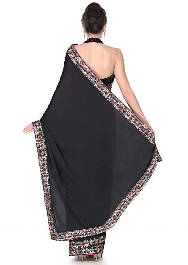 Black saree features in digital printed border only on Kalki