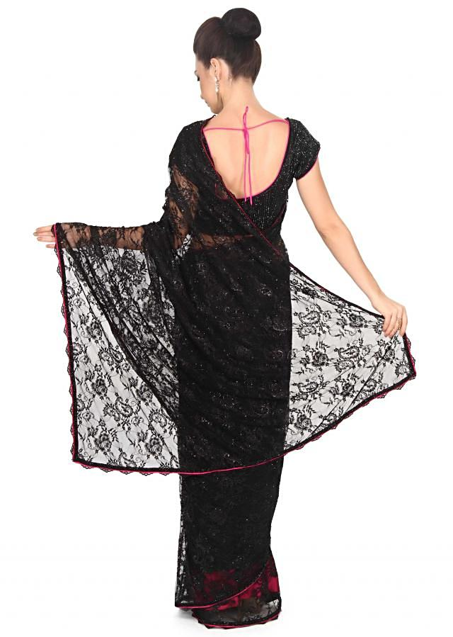 Black saree featuring in chantilly with embellished blouse only on Kalki