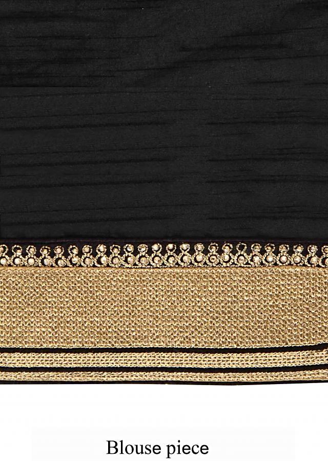 Black saree featuring in zari and kundan embroidery only on Kalki