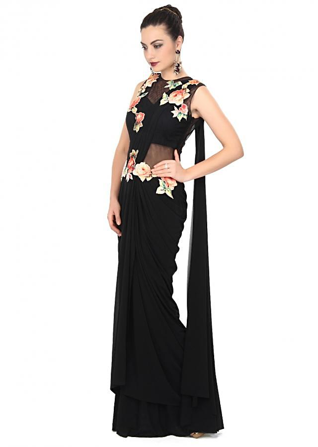 Black saree gown enhanced in applique embroidery only on Kalki