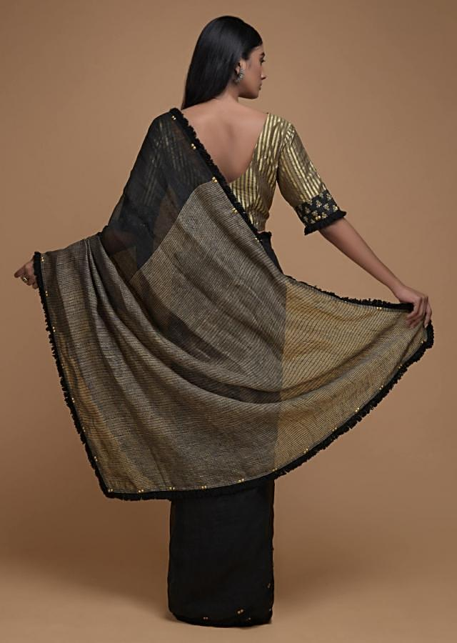 Black Saree In Linen With Thread Fringes And Sequins On The Border Online - Kalki Fashion