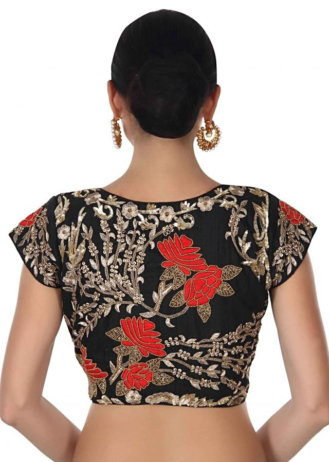Black saree matched with embroidery blouse only on Kalki