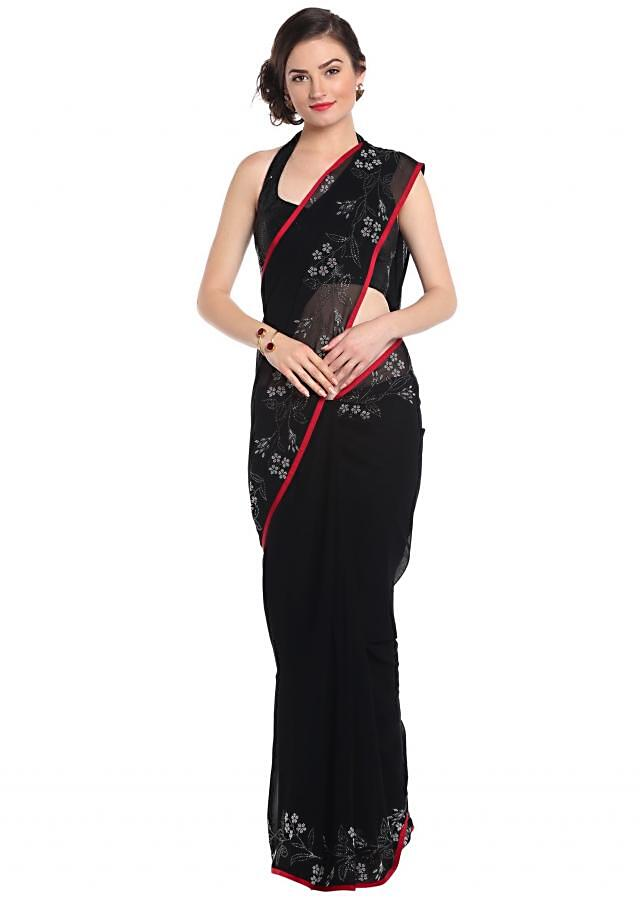 Black Saree With Kundan Border In Floral Motif Online - Kalki Fashion