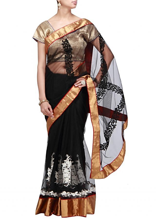 Black saree with thread embroidery