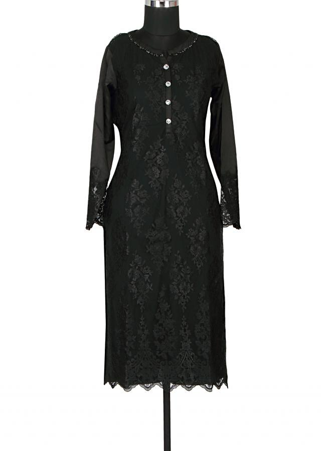 Black satin and net a-line kurti embellished in resham embroidery only on Kalki