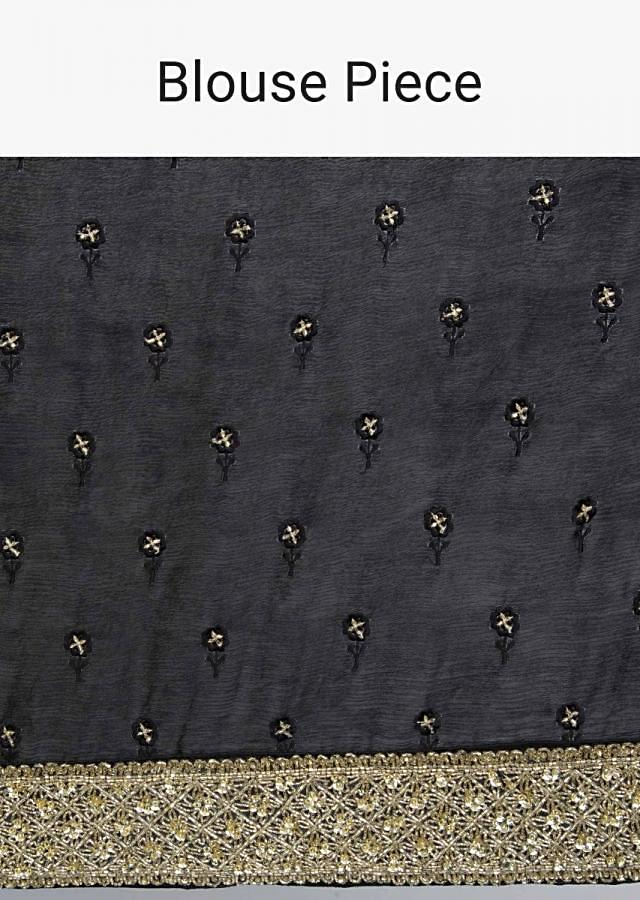 Black Saree In Satin Chiffon With Golden Cut Dana And Sequins Embroidered Border Online - Kalki Fashion