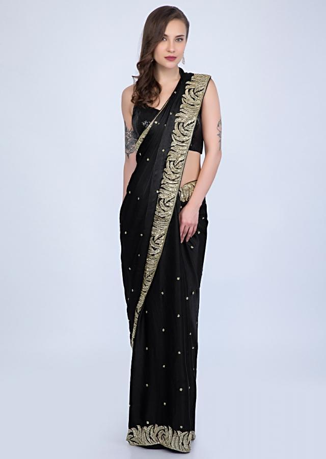 Black satin chiffon saree with heavy cut dana embroidered border only on Kalki