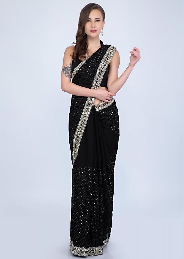 Black Saree With Self Checks Jaal Embroidery And Heavy Cut Dana And Sequins Embroidered Border Online - Kalki Fashion