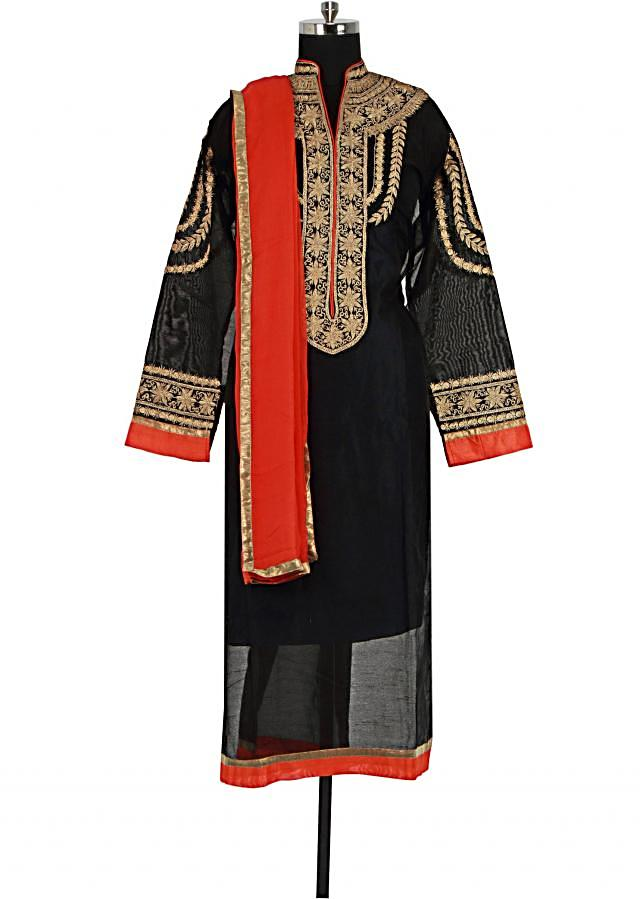 Black semi stitched suit adorn in zari embroidery only on Kalki