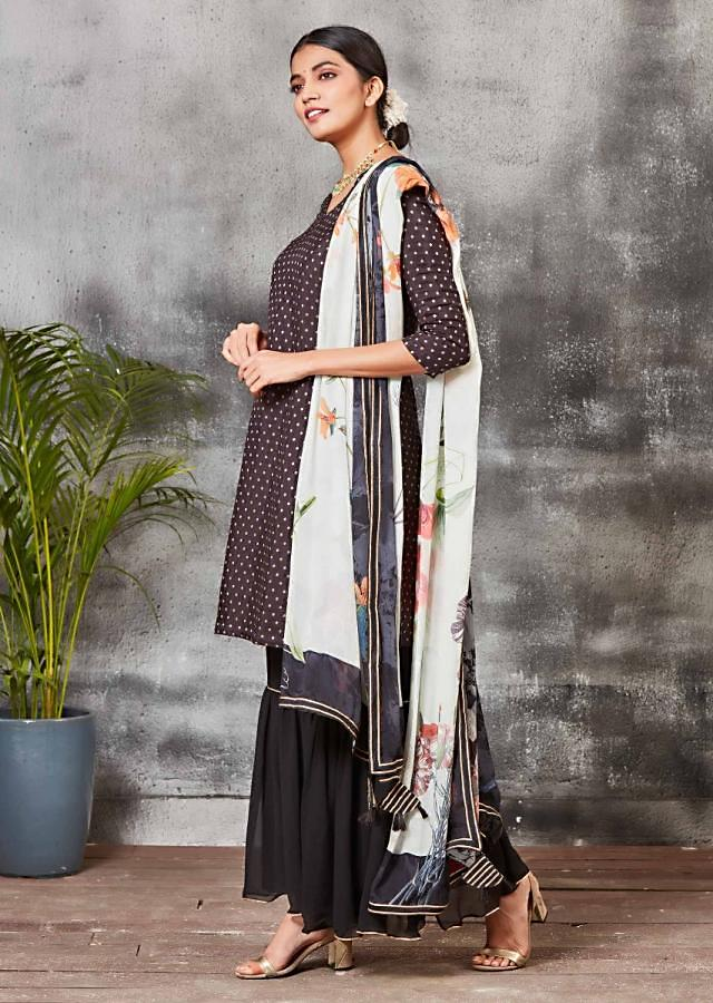Black Sharara Suit In Brocade Silk With Floral Printed Dupatta Online - Kalki Fashion