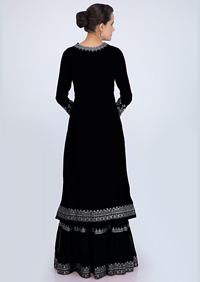 Charcoal black sharara suit set with embroidery and butti only on Kalki
