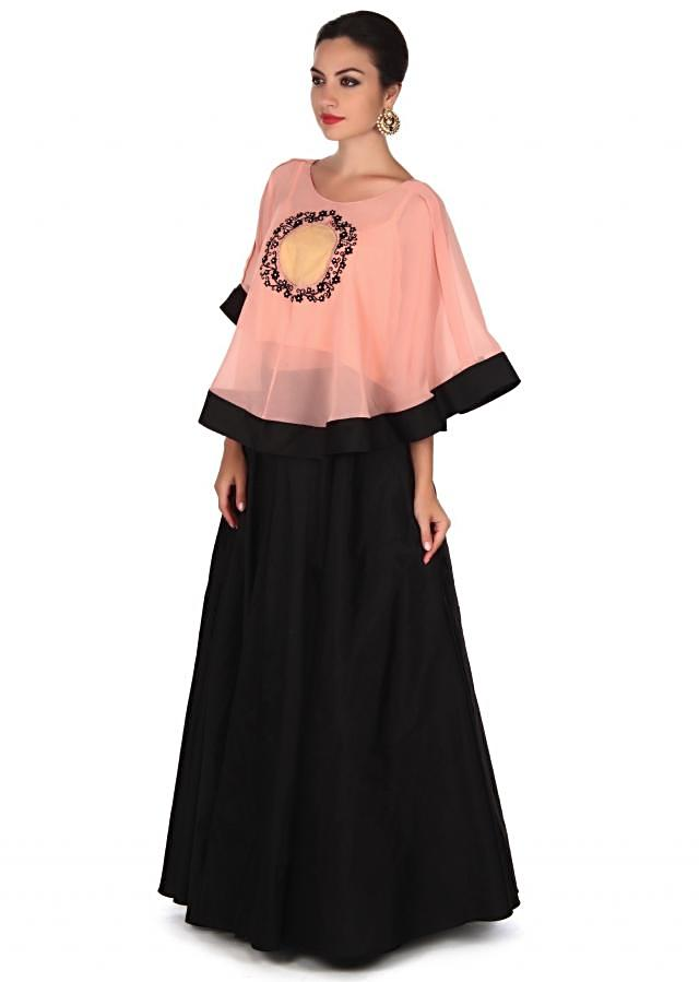 Black skirt with thread embroidered cape only on Kalki