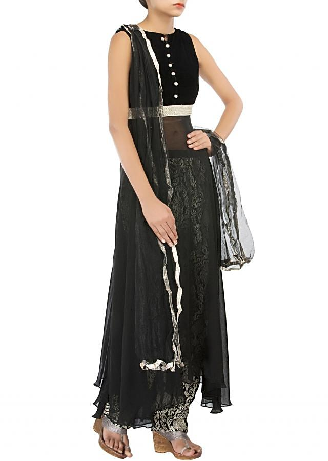 Black straight fit suit adorn in zari and sequin embroidery only on Kalki