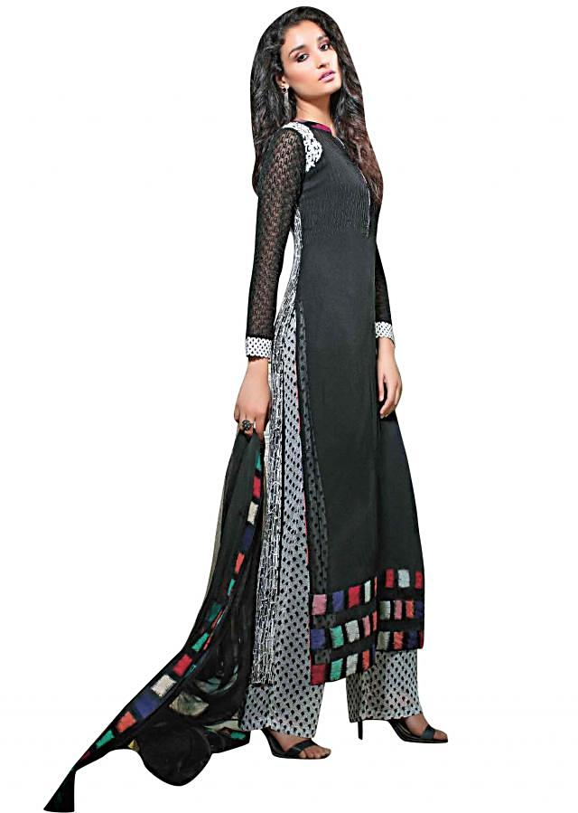 Black straight fit suit embellished in thread embroidery