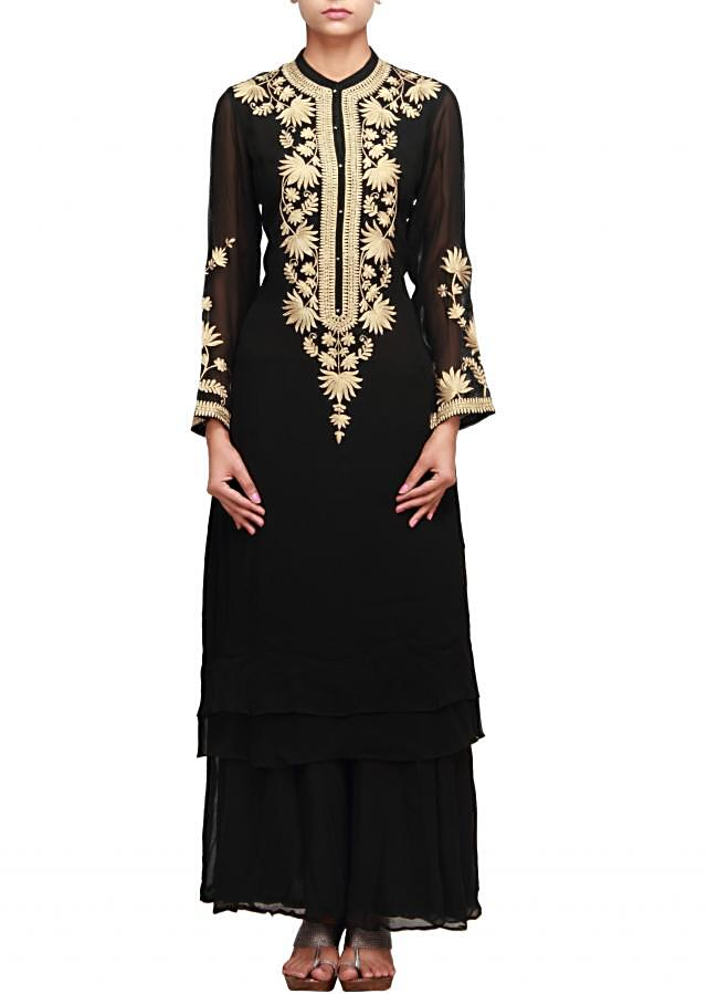 Black straight fit suit featuring in aari embroidery with palazzo pant only on Kalki