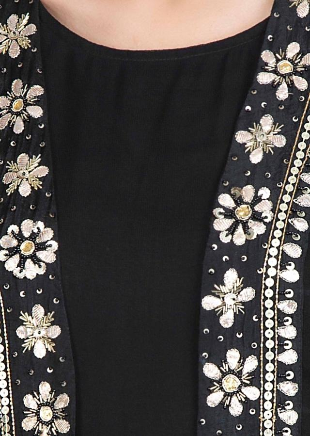 Black Straight Kurti And Dhoti Paired With Long Jacket With Embroidered Edges Online - Kalki Fashion