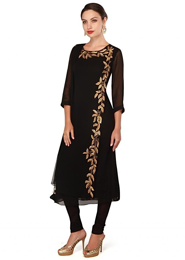Black straight suit adorn in kardana embroidery only on Kalki
