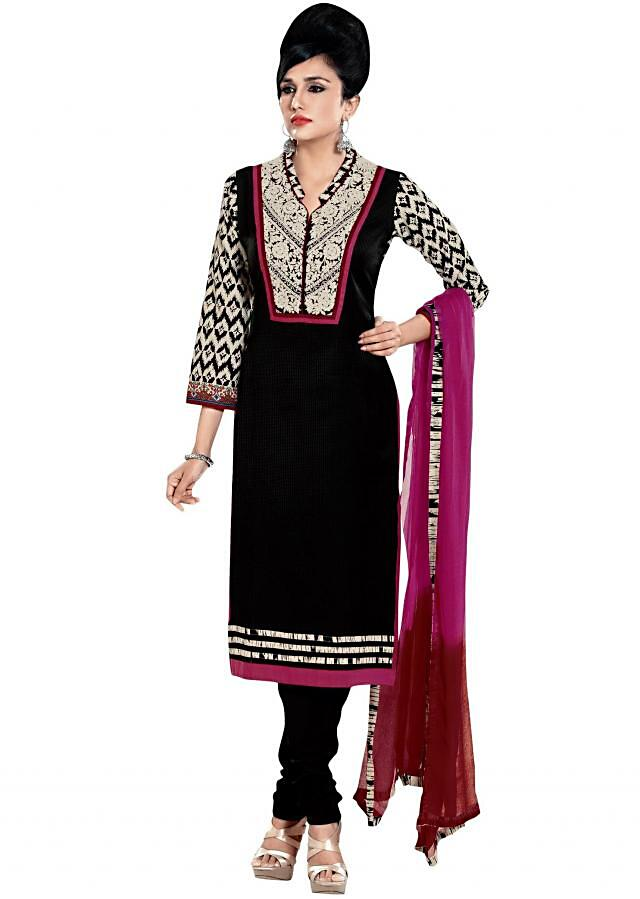 Black straight suit adorn in resham embroidery