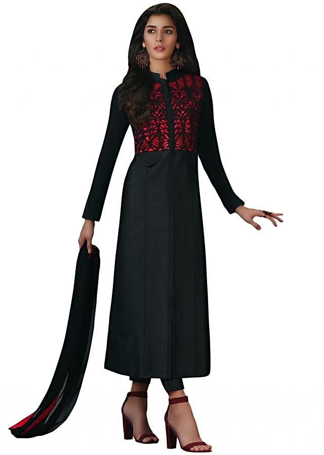 Black straight suit with cut work bodice on raw silk base