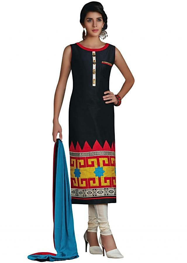 Black straight suit with multi color patch work and fancy stone