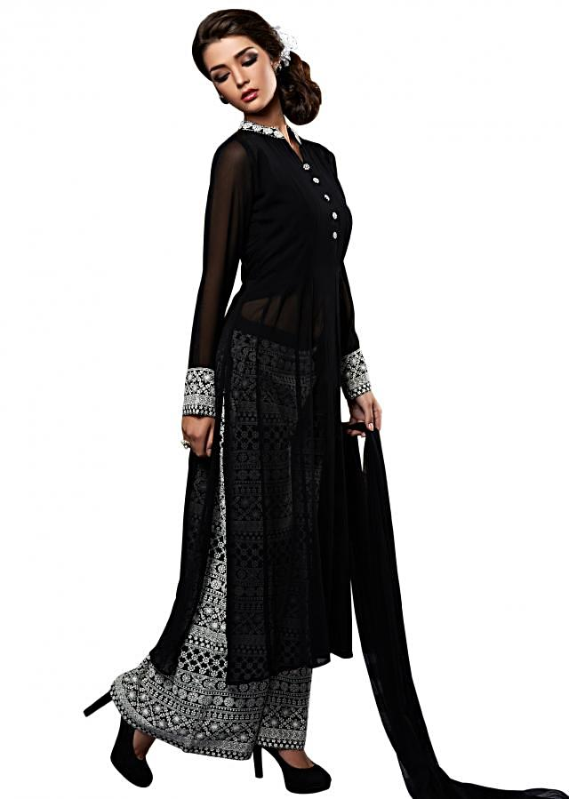 Black straight suit with palazzo pant in thread embroidery