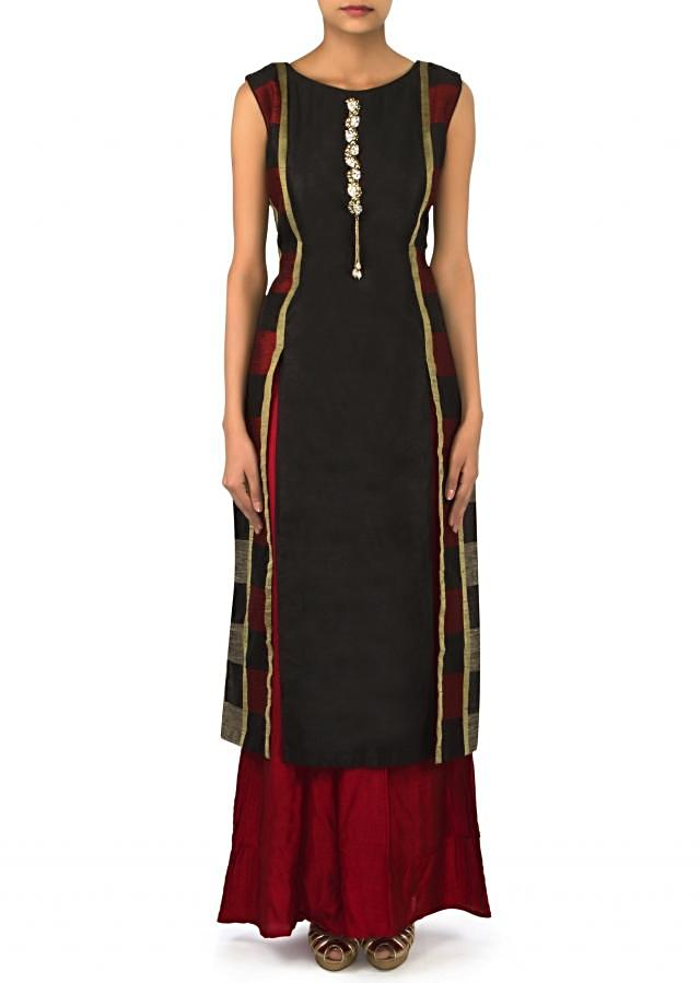 Black straight suit with stone embellished placket only on Kalki