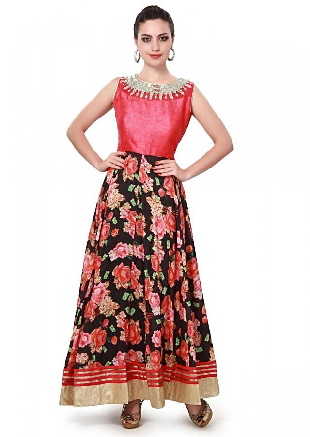 Black suit adorn in mirror and print only on Kalki
