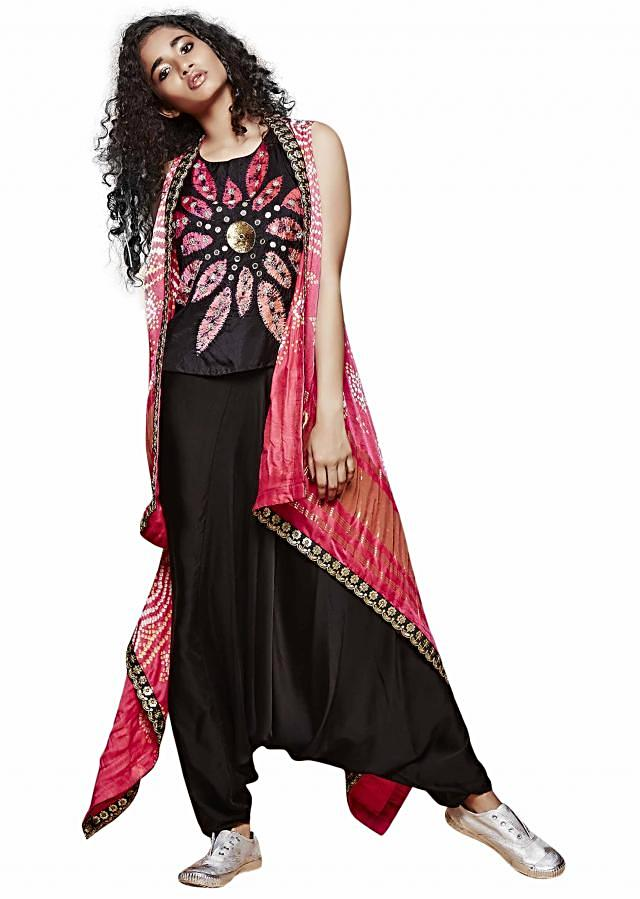 Black top with cowl pant in pink long jacket only on Kalki