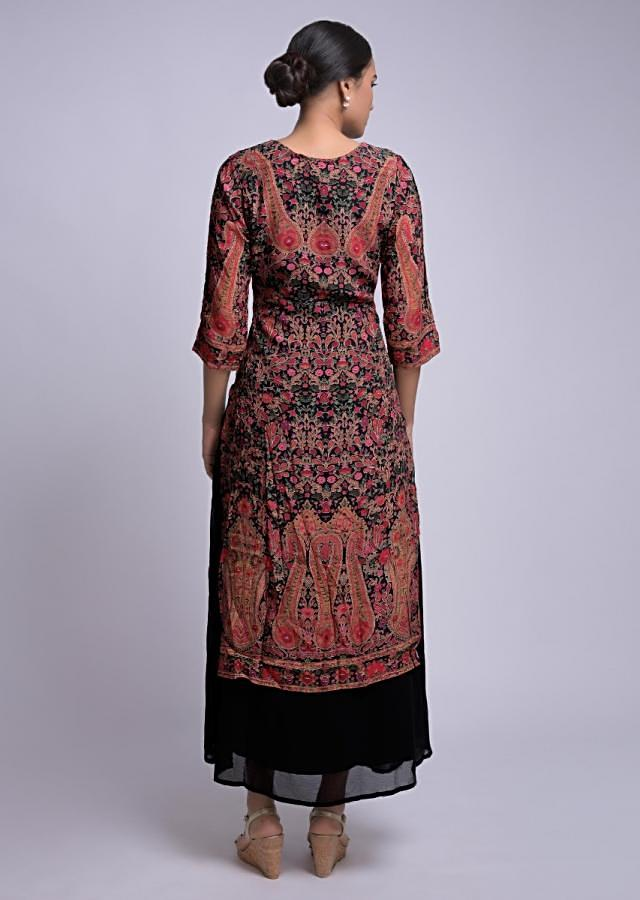 Black Tunic Dress With Multi Colored Floral Print And Attached Skirt Online - Kalki Fashion