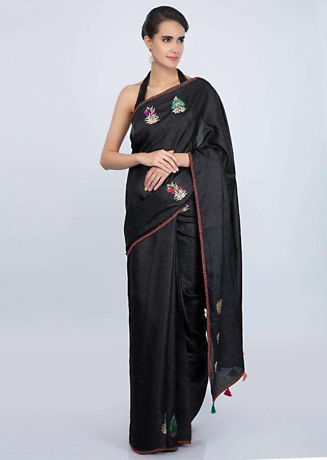 Black tussar silk saree with weaved patch butti only on Kalki