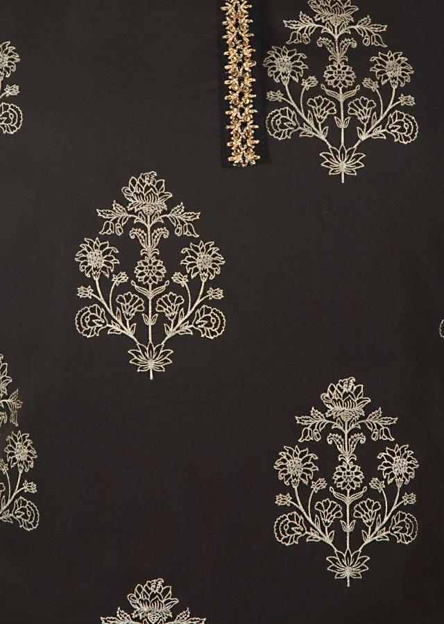 Black unstitched printed suit with embroidered placket only on Kalki