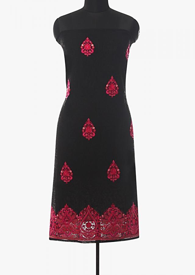 Black unstitched suit adorn in paisley motif embroidered butti and border only on Kalki