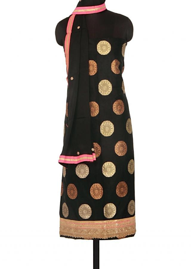 Black unstitched suit adorn in zari and kundan only on Kalki