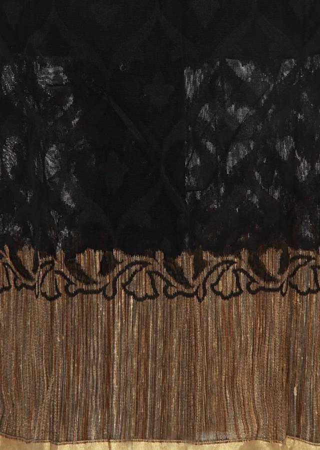 Black unstitched suit enhanced in weave only on Kalki