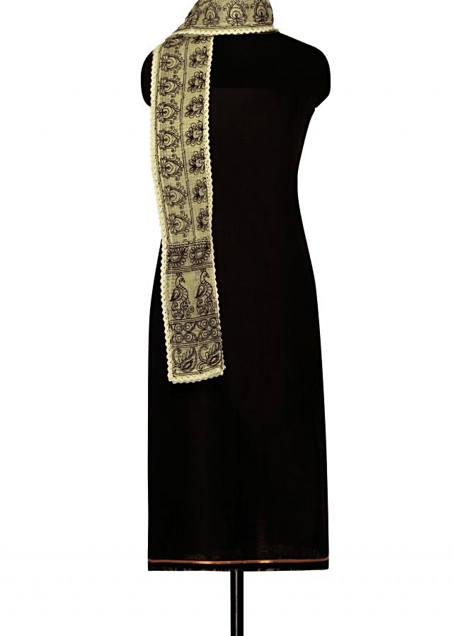Black unstitched suit in cream embroidered dupattaonly on Kalki
