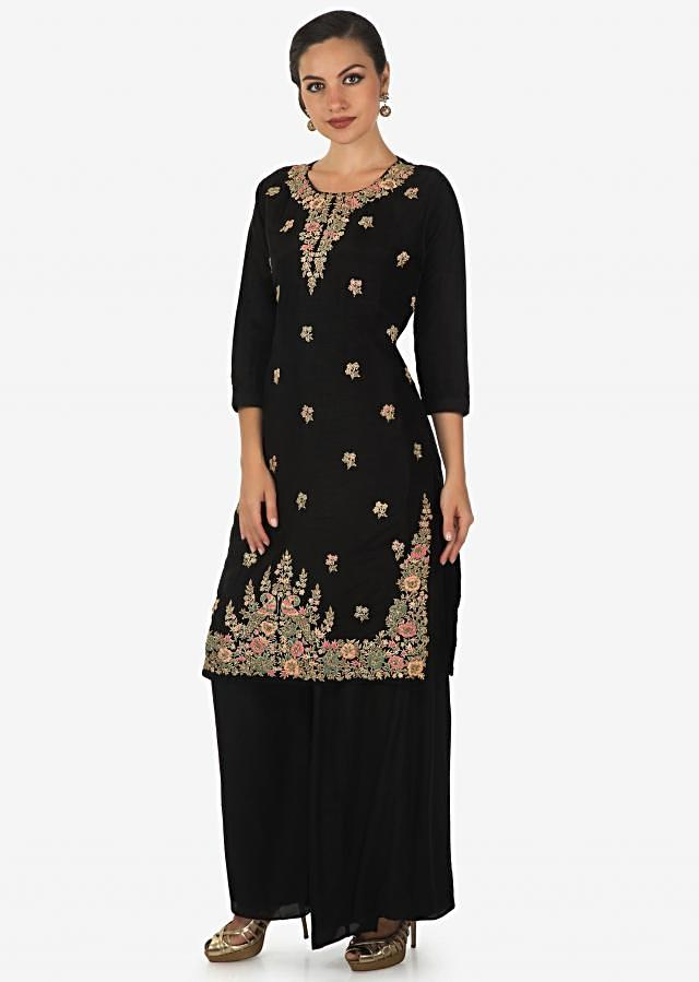 Black straight palazzo suit with embroidered neckline and hem only on Kalki