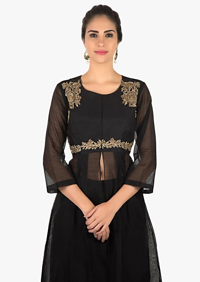 Black A line suit in center slit with zardosi embroidery only on Kalki