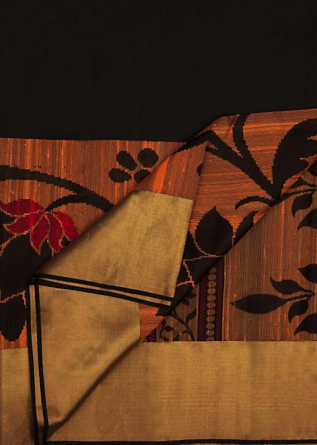 Black and copper saree in silk only on Kalki