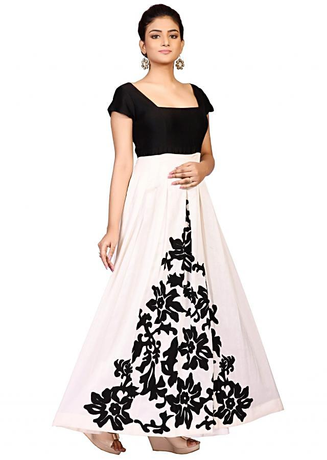 Black and cream suit in chanderi embellished in applique embroidery only on Kalki