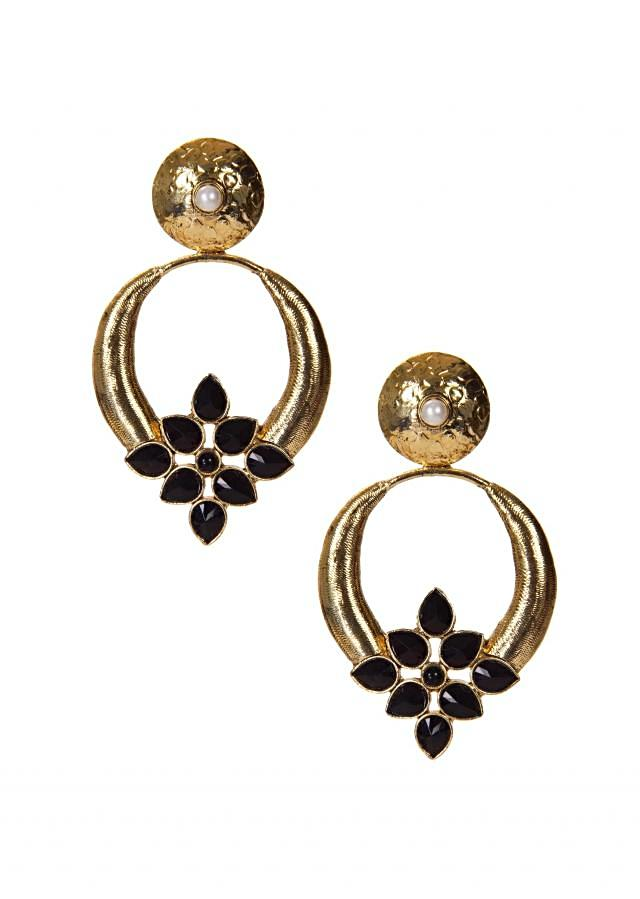 Black and gold Earrings Embellished In floral motif Moti Work only on Kalki