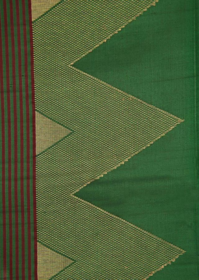 Black and green saree in silk only on Kalki