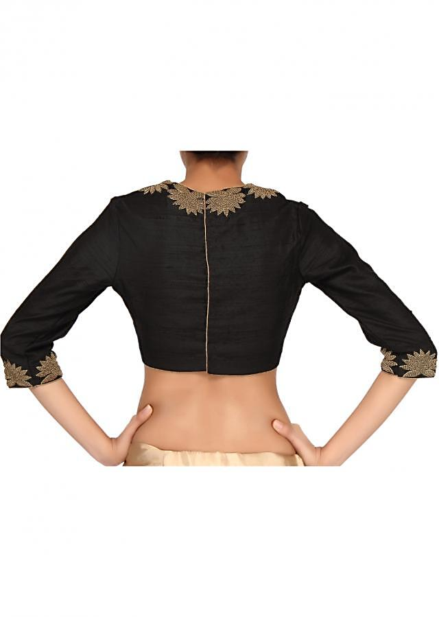 Black blouse adorn in moti embroidery only on Kalki
