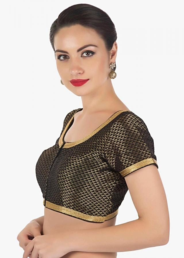 Black blouse in brocade silk with gold lace only on Kalki