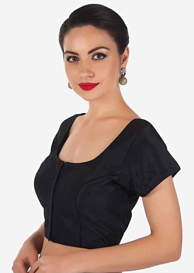 Black blouse in raw silk with princes line only on Kalki